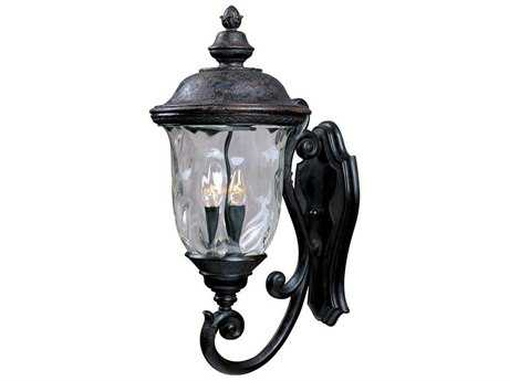 Maxim Lighting Carriage House DC Oriental Bronze & Water Glass Three-Light 12.5'' Wide Incandescent Outdoor Wall Light