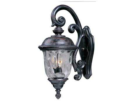Maxim Lighting Carriage House DC Oriental Bronze & Water Glass Two-Light 9'' Wide Incandescent Outdoor Wall Light