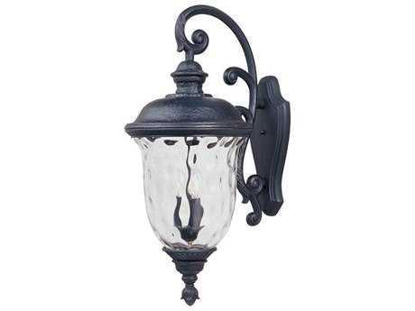 Maxim Lighting Carriage House DC Oriental Bronze & Water Glass Three-Light 14'' Wide Incandescent Outdoor Wall Light