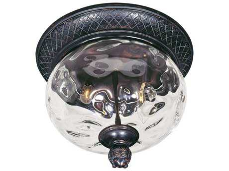 Maxim Lighting Carriage House VX Oriental Bronze & Water Glass Two-Light 12'' Wide Incandescent Outdoor Ceiling Light