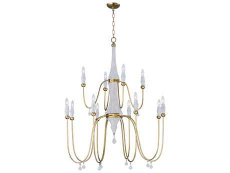Maxim Lighting Claymore Claystone and Gold Leaf 12-Light 40'' Wide Grand Chandelier MX22438CSTGL