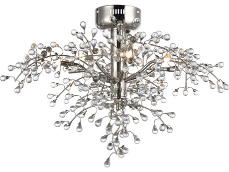 Maxim Lighting Cluster Polished Nickel Eight-Light 29'' Wide LED Semi-Flush Mount Light MX38502CLPN