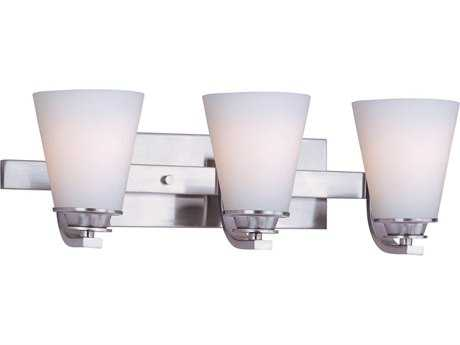 Maxim Lighting Conical Satin Nickel Three-Light Vanity Light
