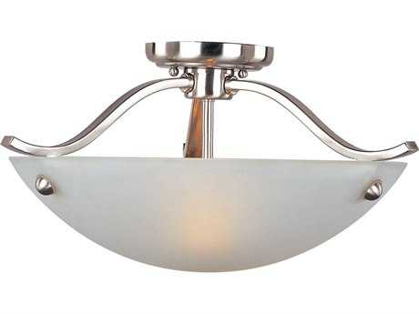 Maxim Lighting Contour Satin Nickel & Frosted Glass Two-Light 18'' Wide Semi-Flush Mount Light MX21261FTSN