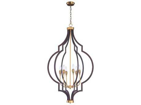Maxim Lighting Crest Oil Rubbed Bronze and Antique Brass Six-Light 26'' Wide Chandelier MX20296OIAB