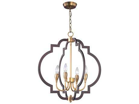 Maxim Lighting Crest Oil Rubbed Bronze and Antique Brass Four-Light 22'' Wide Mini Chandelier MX20293OIAB