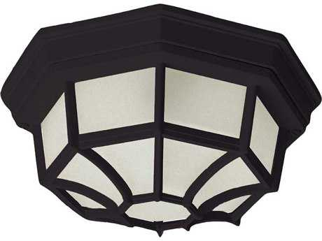 Maxim Lighting Crown Hill Black & Frosted Glass Two-Light 11'' Wide Outdoor Ceiling Light MX1020BK