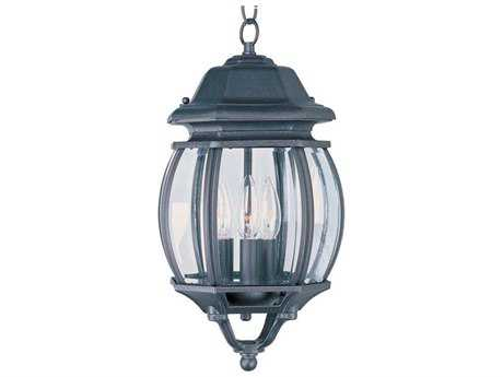 Maxim Lighting Crown Hill Black & Clear Glass Three-Light 8'' Wide Outdoor Hanging Light