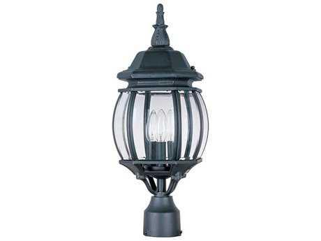 Maxim Lighting Crown Hill Black & Clear Glass Three-Light 8'' Wide Outdoor Post Light MX1035BK