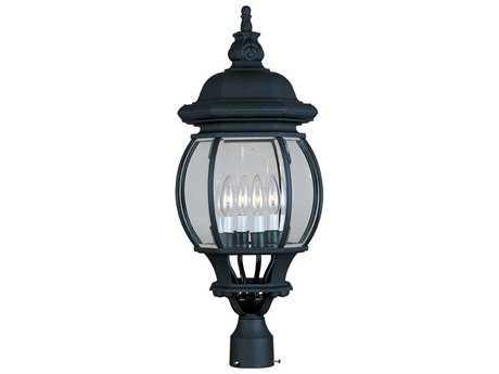 Maxim Lighting Crown Hill Black & Clear Glass Four-Light 10'' Wide Outdoor Post Light MX1038BK
