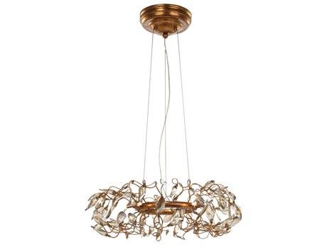 Maxim Lighting Crystal Garden Gold Leaf Six-Light 18'' Wide  Pendant Light MX30444CGGL