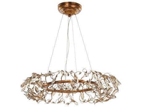 Maxim Lighting Crystal Garden Gold Leaf Eight-Light 28'' Wide  Pendant Light MX30445CGGL