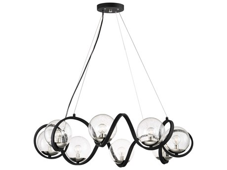 Maxim Lighting Curlicue Black / Polished Nickel Eight-Light 35'' Wide  Pendant Light