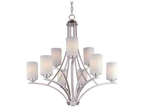Maxim Lighting Deven Satin Nickel Nine-Light 32 Wide Chandelier MX20036SWSN