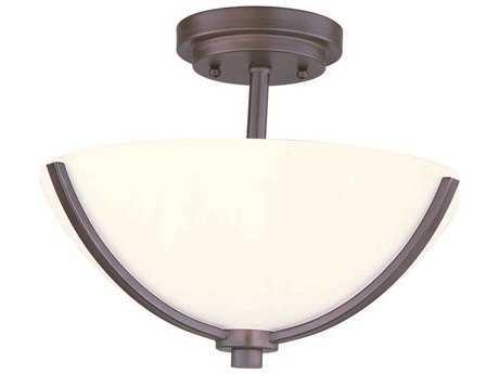 Maxim Lighting Deven Oil Rubbed Bronze & Satin White Glass Three-Light 14'' Wide Semi-Flush Mount Light MX20031SWOI