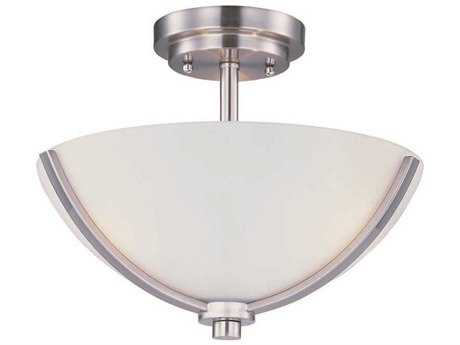 Maxim Lighting Deven Satin Nickel & Satin White Glass Three-Light 14'' Wide Semi-Flush Mount Light MX20031SWSN