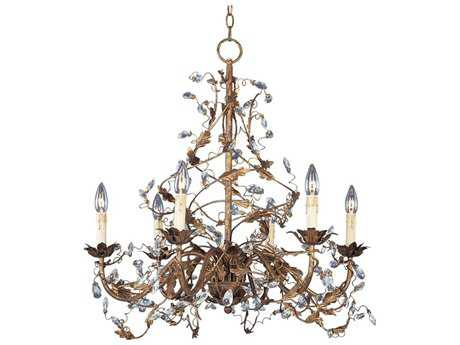 Maxim Lighting Elegante Etruscan Gold Six-Light 26.5 Wide Chandelier MX2851EG