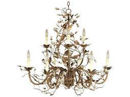 Elegante Etruscan Gold Nine-Light 29 Wide Chandelier