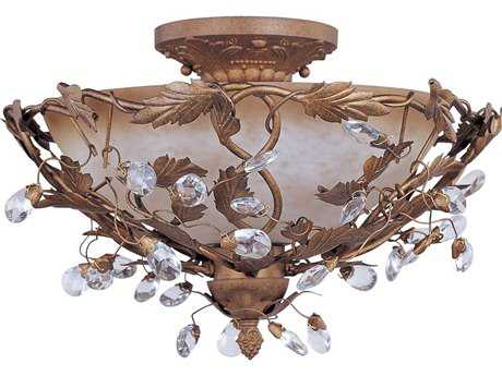 Maxim Lighting Elegante Etruscan Gold & Frosted Glass Three-Light 16.5'' Wide Semi-Flush Mount Light MX2859EG