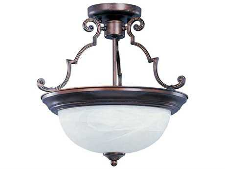 Maxim Lighting Essentials-584x Oil Rubbed Bronze & Marble Glass Two-Light 15'' Wide Semi-Flush Mount Light MX5843MROI