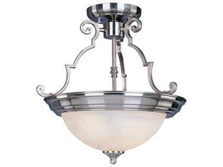 Maxim Lighting Essentials-584x Satin Nickel & Marble Glass Two-Light 15'' Wide Semi-Flush Mount Light MX5843MRSN