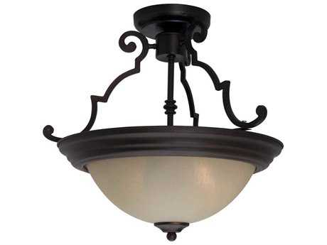 Maxim Lighting Essentials-584x Oil Rubbed Bronze & Wilshire Glass Two-Light 15'' Wide Semi-Flush Mount Light MX5843WSOI