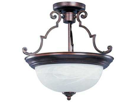 Maxim Lighting Essentials-584x Oil Rubbed Bronze & Marble Glass Three-Light 17'' Wide Semi-Flush Mount Light MX5844MROI