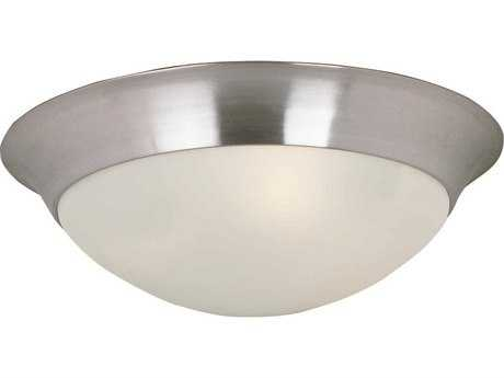 Maxim Lighting Essentials-5850 Satin Nickel & Frosted Glass Two-Light 14'' Wide Flush Mount Light