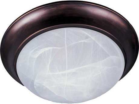 Maxim Lighting Essentials-5850 Oil Rubbed Bronze & Marble Glass Two-Light 14'' Wide Flush Mount Light MX5851MROI