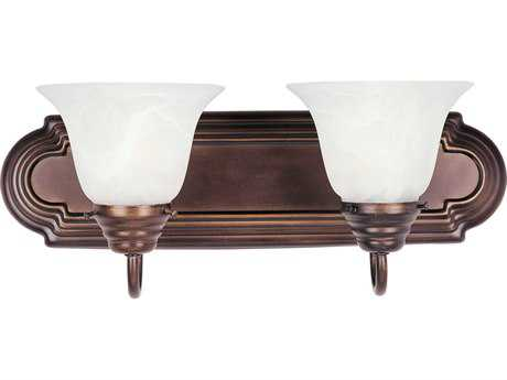 Maxim Lighting Essentials Oil Rubbed Bronze Two-Light Vanity Light with Marble Glass MX8012MROI