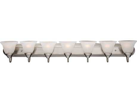 Maxim Lighting Essentials Satin Nickel Seven-Light Vanity Light with Marble Glass MX8016MRSN
