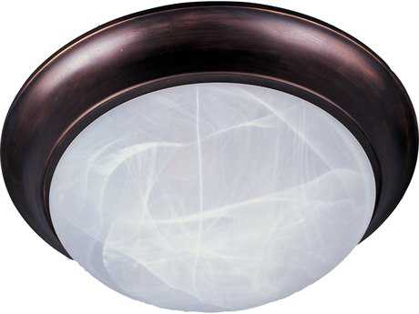 Maxim Lighting Essentials-5850 Oil Rubbed Bronze & Marble Glass 12'' Wide Flush Mount Light MX5850MROI
