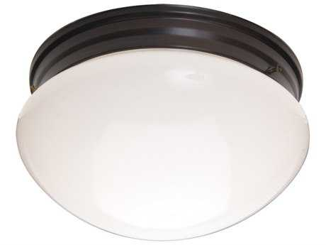 Maxim Lighting Essentials-588x Oil Rubbed Bronze & White Glass Two-Lights 9'' Wide Flush Mount Light