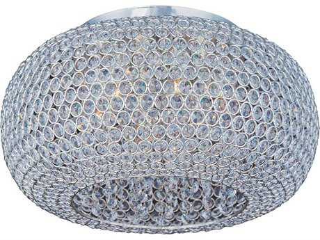 Maxim Lighting Glimmer Plated Silver Six-Light 18'' Wide Flush Mount Light MX39876BCPS