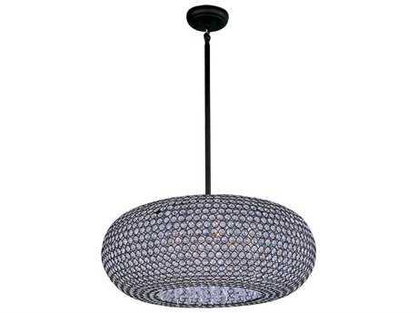 Maxim Lighting Glimmer Bronze & Beveled Crystal  Nine-Light 24'' Wide Pendant Light MX39879BCBZ