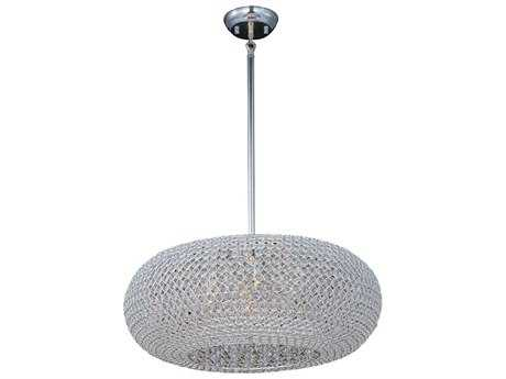 Maxim Lighting Glimmer Plated Silver & Beveled Crystal  Nine-Light 24'' Wide Pendant Light MX39879BCPS
