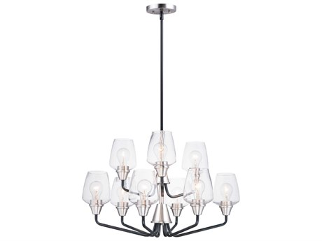 Maxim Lighting Goblet Black / Satin Nickel Nine-Light 27'' Wide  Chandelier