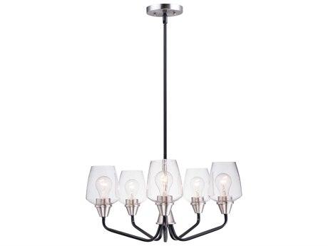 Maxim Lighting Goblet Black / Satin Nickel Five-Light 23'' Wide  Mini-Chandelier