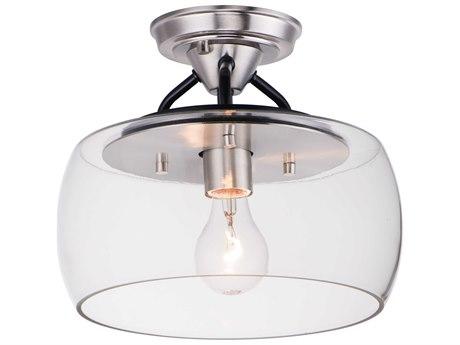 Maxim Lighting Goblet Black / Satin Nickel  11'' Wide  Semi-Flush Mount Light MX26129CLBKSN