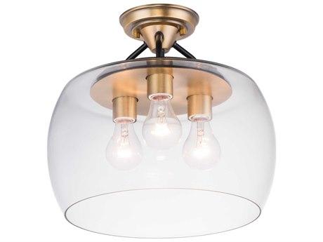 Maxim Lighting Goblet Bronze / Antique Brass Three-Light 14'' Wide  Semi-Flush Mount Light MX26130CLBZAB
