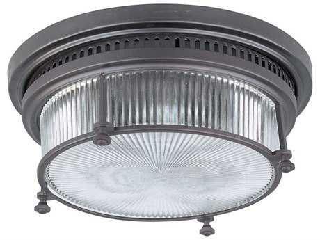 Maxim Lighting Hi-Bay Bronze & Clear Halophane Two-Light 13'' Wide Flush Mount Light MX25000CLBZ