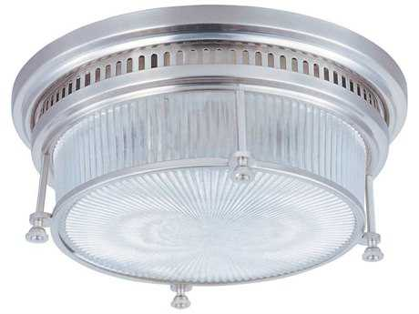 Maxim Lighting Hi-Bay Satin Nickel & Clear Halophane Two-Light 13'' Wide Flush Mount Light MX25000CLSN