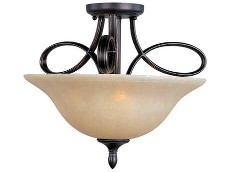 Maxim Lighting Infinity Oil Rubbed Bronze & Wilshire Glass Three-Light 18'' Wide Semi-Flush Mount Light MX21302WSOI