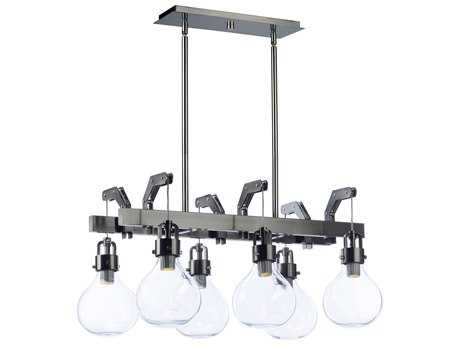 Maxim Lighting Kinetic Dark Satin Nickel with Clear Glass Six-Light 29'' Wide LED Island Light MX39696CLDSN