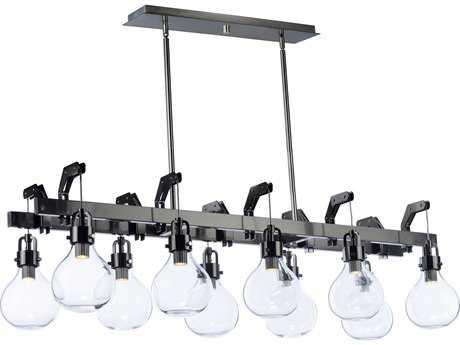 Maxim Lighting Kinetic Dark Satin Nickel with Clear Glass Ten-Light 50'' Wide LED Island Light MX39698CLDSN