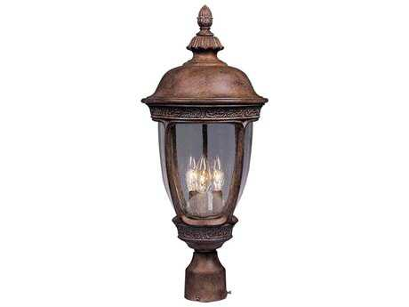 Maxim Lighting Knob Hill DC Sienna & Seedy Glass Three-Light 13'' Wid Incandescent Outdoor Post Light MX3461CDSE