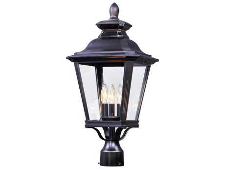 Maxim Lighting Knoxville Bronze with Clear Glass Three-Light Outdoor Post Light