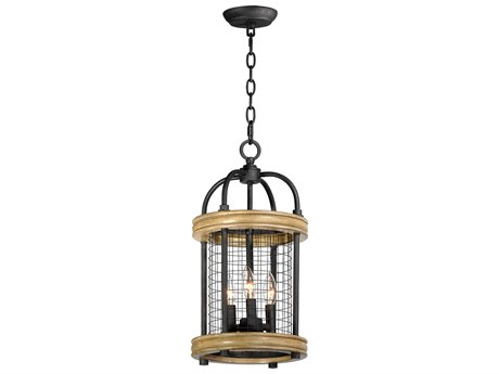 Maxim Lighting Lancaster Driftwood / Black Three-Light 10'' Wide  Mini-Chandelier