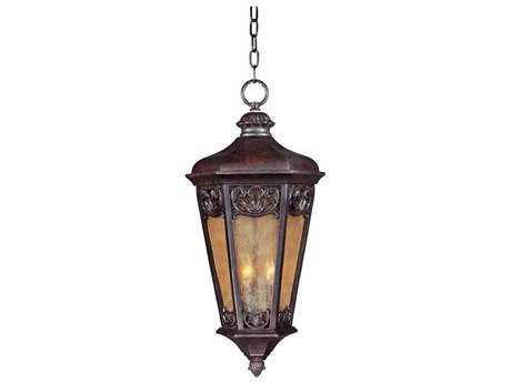 Maxim Lighting Lexington VX Colonial Umber & Night Shade Glass Three-Light 13.5'' Wide Outdoor Hanging Light