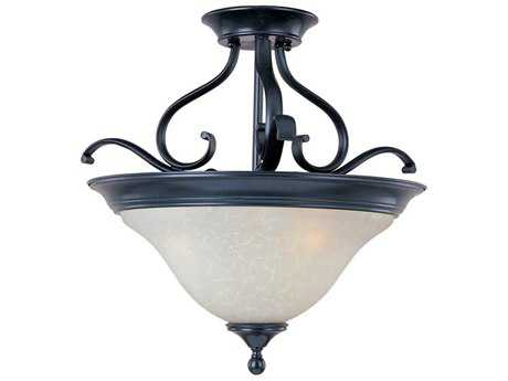 Maxim Lighting Linda Black & Ice Glass Three-Light 19'' Wide Semi-Flush Mount Light MX11801ICBK